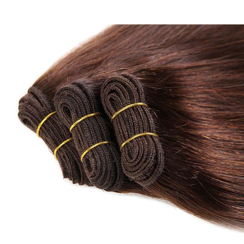 Bighair Weft Extensions brown 4 voorzijde 3x